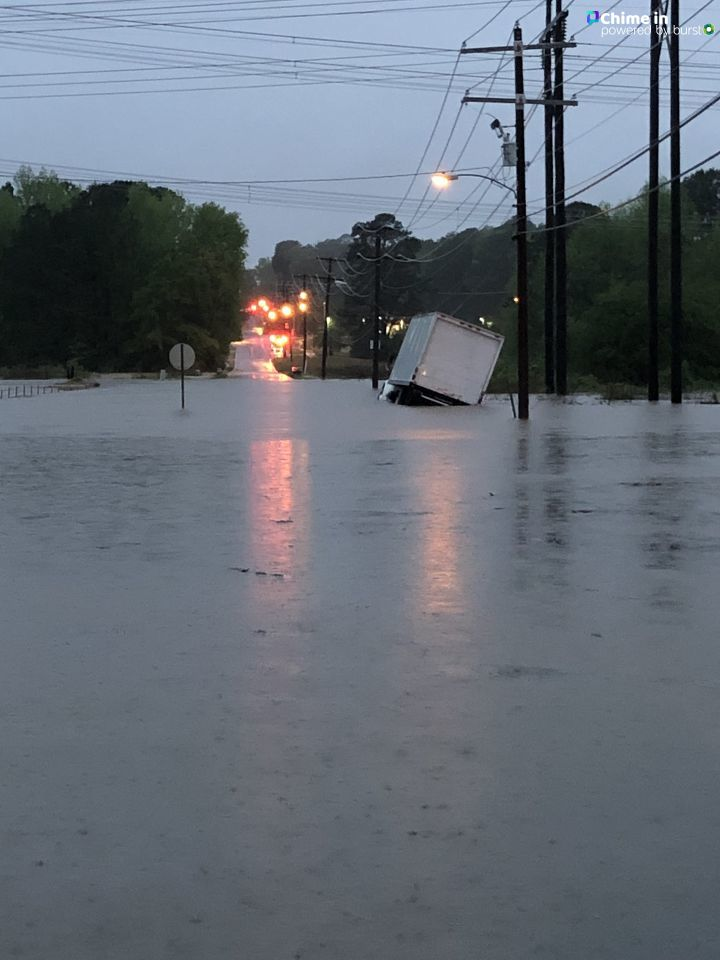 Flooding at Vimey Ridge and Sardis Roads in Alexander. (Courtesy Gary Hughes and KATV)