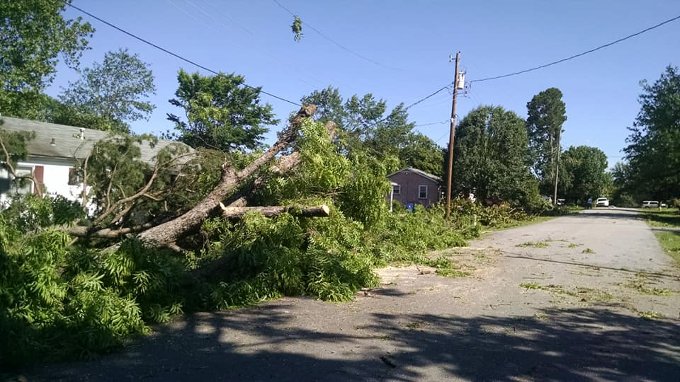 Damage on South 17th Street in Fort Smith after an EF-1 tornado hit May 18, 2019. (Courtesy of Sandra Unangst)