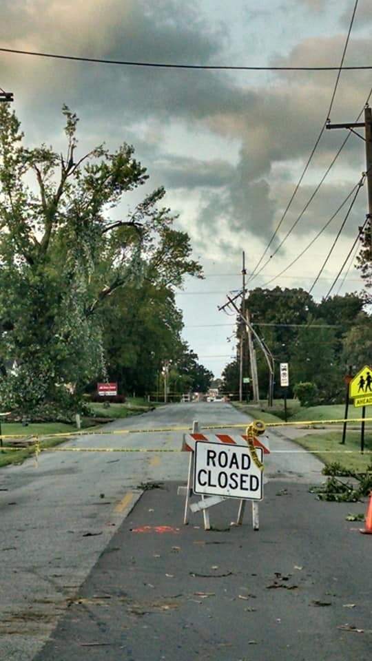 Damage two streets over from South 17th Street in Fort Smith after an EF-1 tornado hit May 18, 2019. (Courtesy of Sandra Unangst)