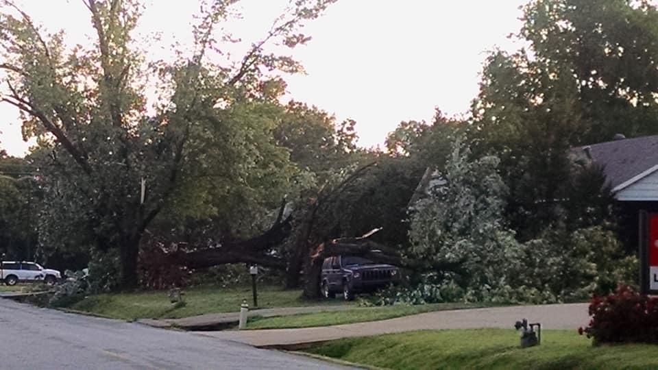 Damage two streets away from South 17th Street in Fort Smith after an EF-1 tornado hit May 18, 2019. (Courtesy of Sandra Unangst)