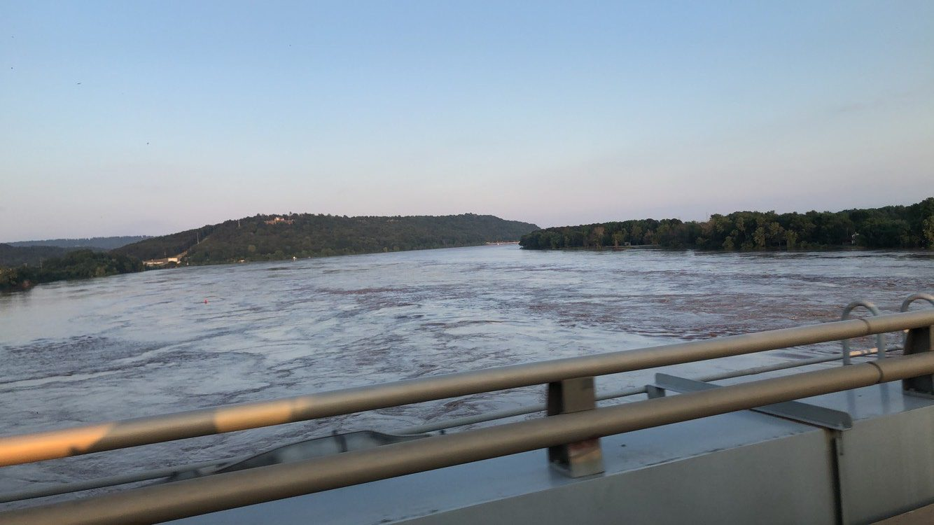 Water level at the Highway 23 Bridge in Ozark just prior to closure. (Courtesy of Alivia Fort)