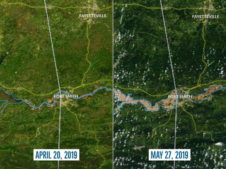 View From Space:  Arkansas River Flooding