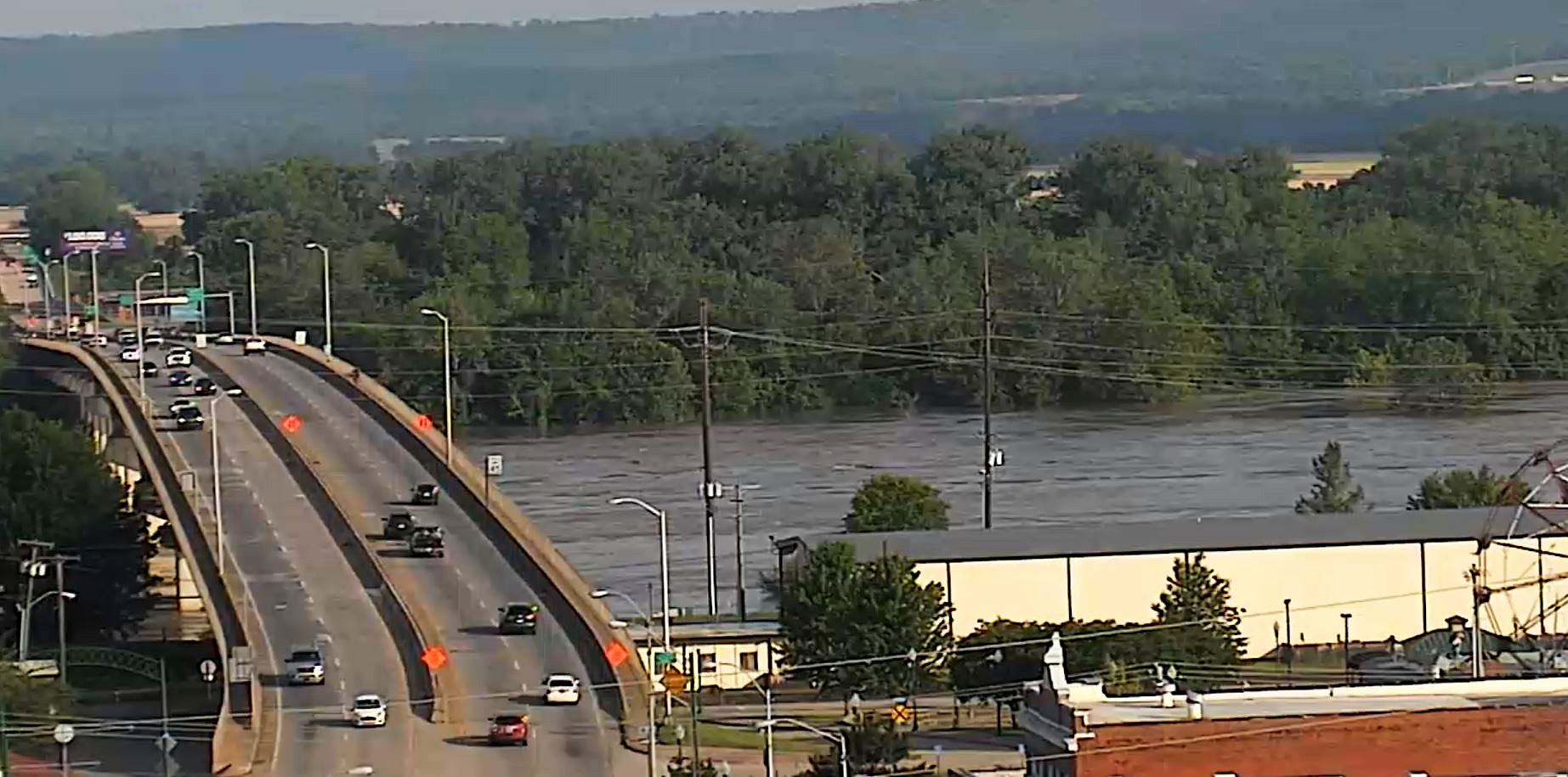 River Valley, Oklahoma Roads Closed Due To Arkansas River