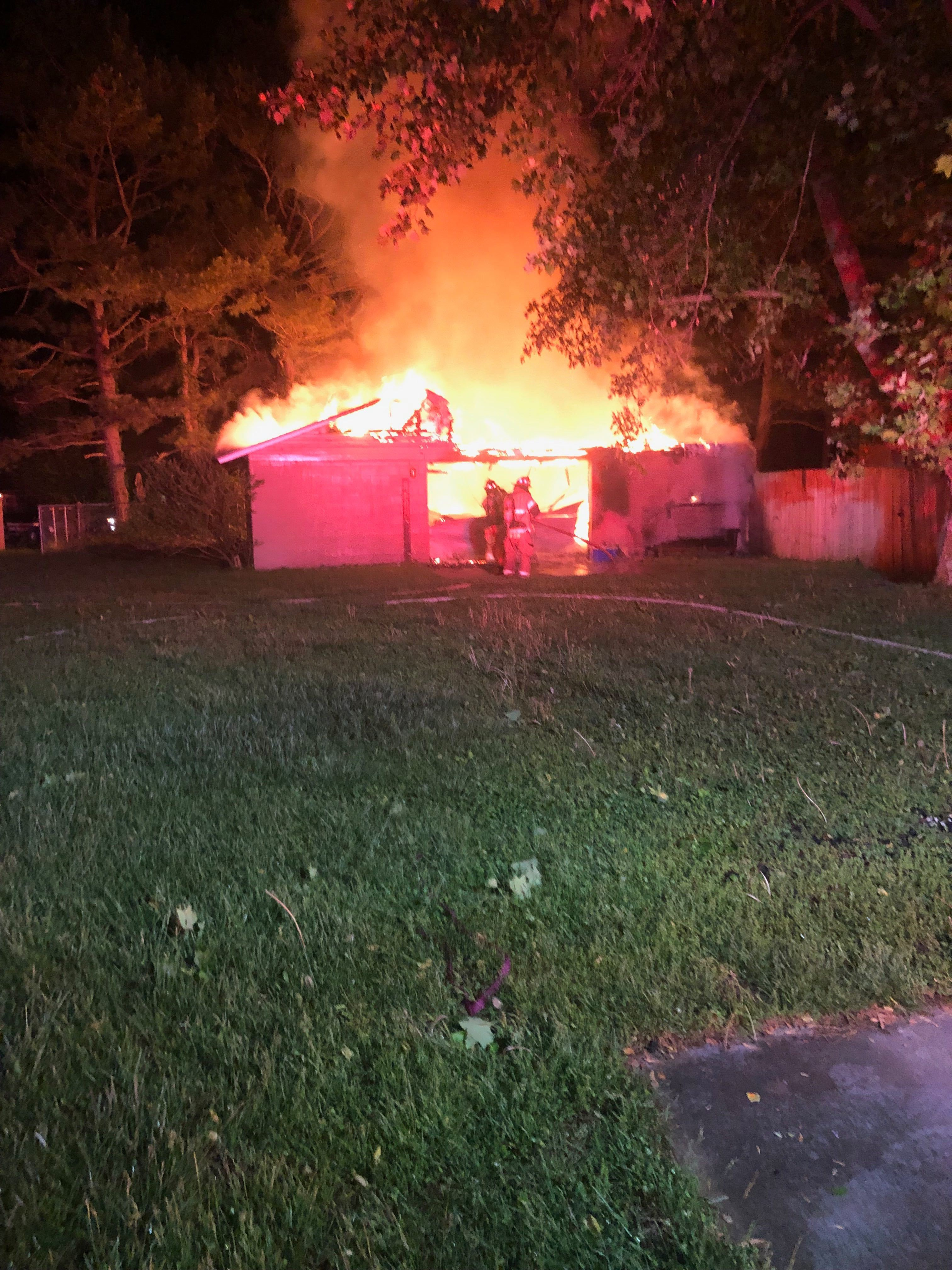 An early-morning fire destroyed a detached garage on North Killdeer Road in Rogers on Thursday, May 2, 2019. (Courtesy of the Rogers Fire Department)