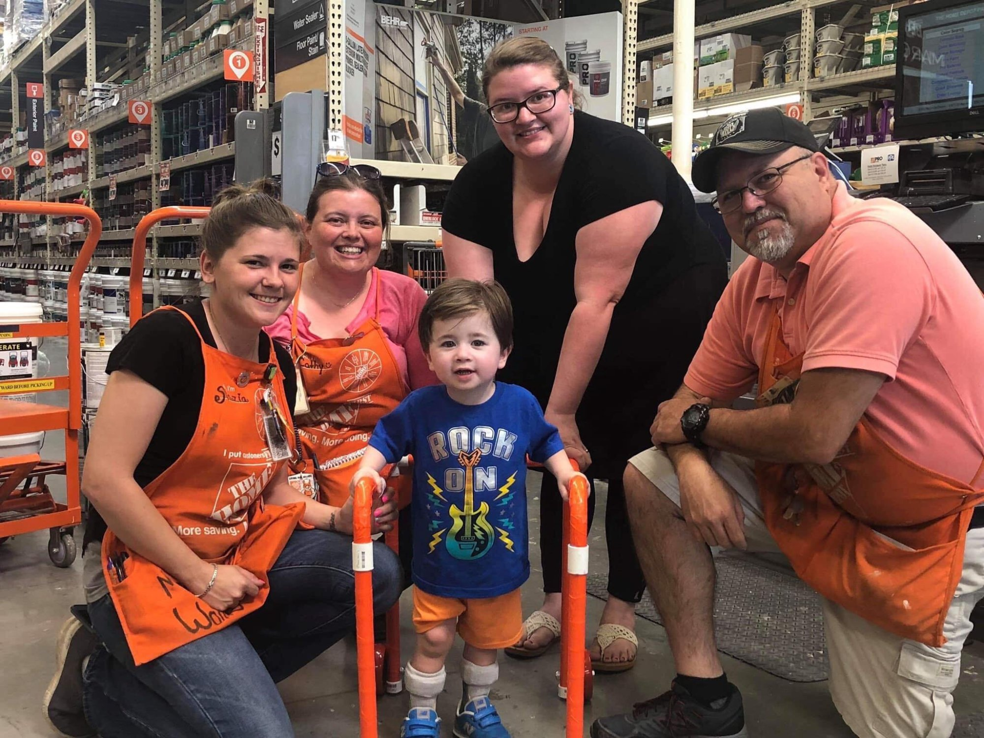 Home Depot employees helped build a walker for a family who came into the store looking for parts