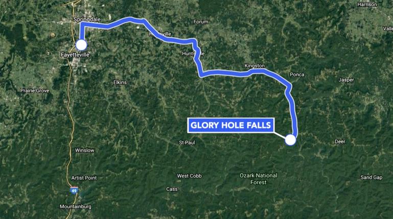 Glory Hole Falls Map