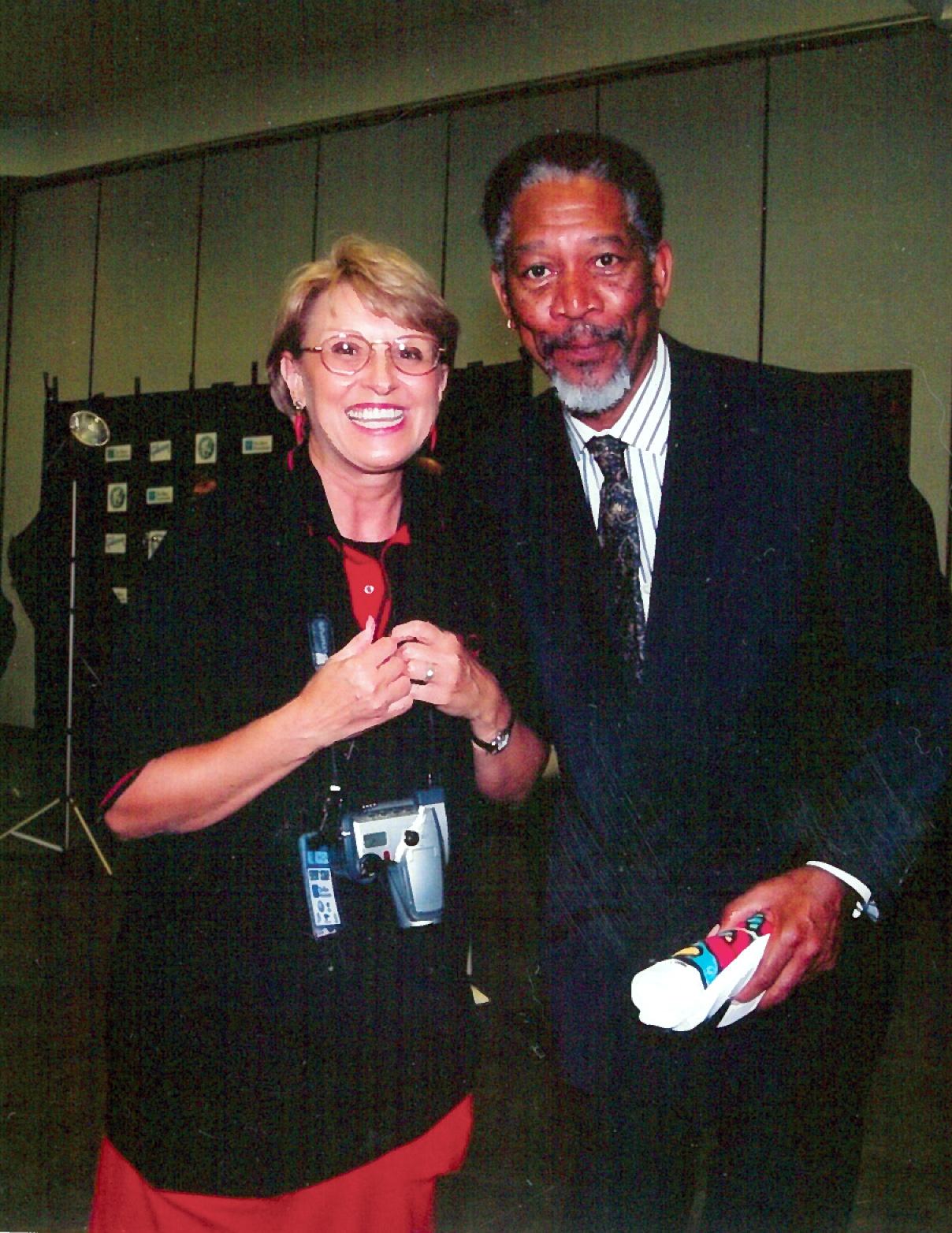 Linda Seubold and Morgan Freeman (Courtesy of Entertainment Fort Smith Magazine)