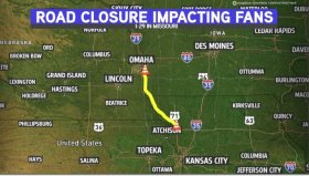 With I-29 Closed, 'OmaHogs' Fans Will Need To Take Detour To