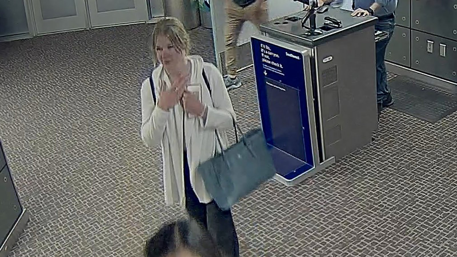 Mackenzie Lueck, 23, captured on security cameras at Salt Lake City International Airport.