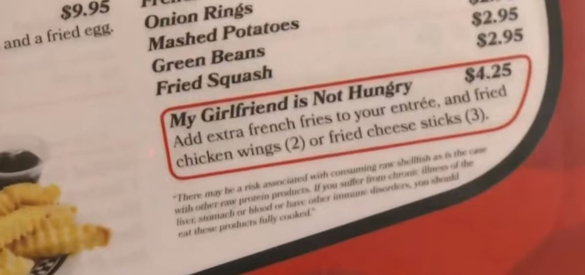 Viral 'My Girlfriend Is Not Hungry' Menu Item Came From