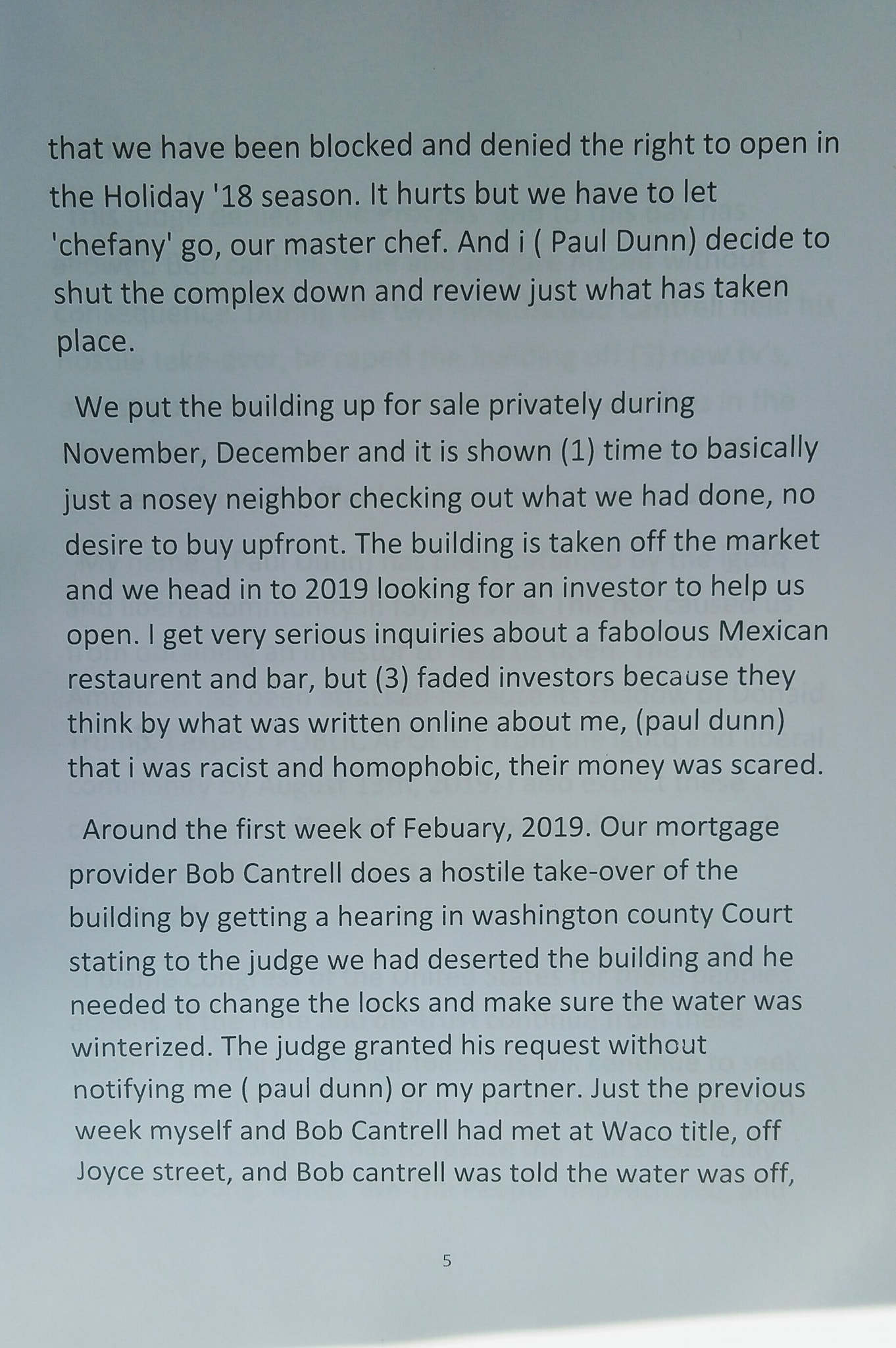 Paul Dunn's written statement