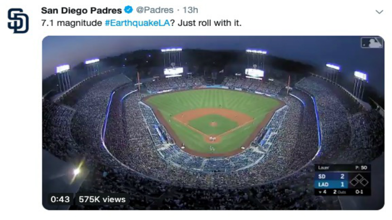 Video Shows Padres, Dodgers Playing Through Earthquake thumbnail