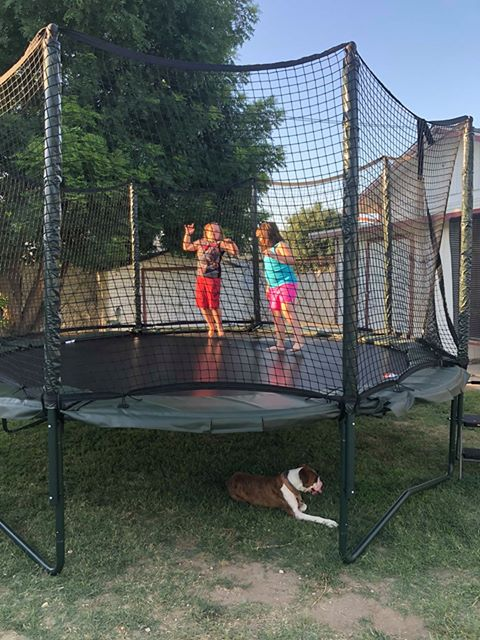 """Zoey Gragg (left) enjoys the trampoline with a friend. She and her mother won the trampoline on """"The Price Is Right."""""""
