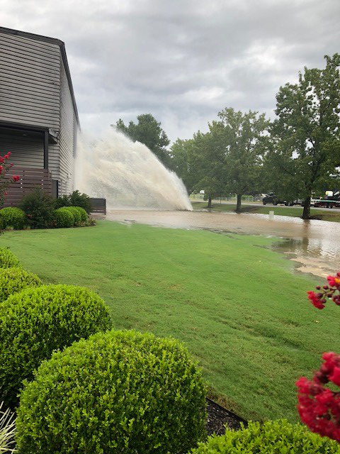 A massive water leak flooded areas around South Armstrong Avenue in Fayetteville on Aug. 22, 2019.