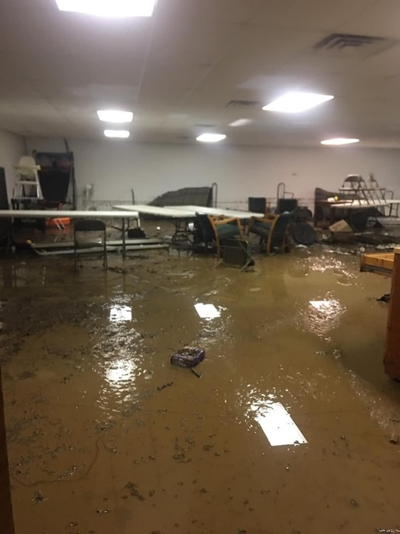 Flood damage at Pigeon Creek Church in Mountainburg (Courtesy of Pigeon Creek Church)