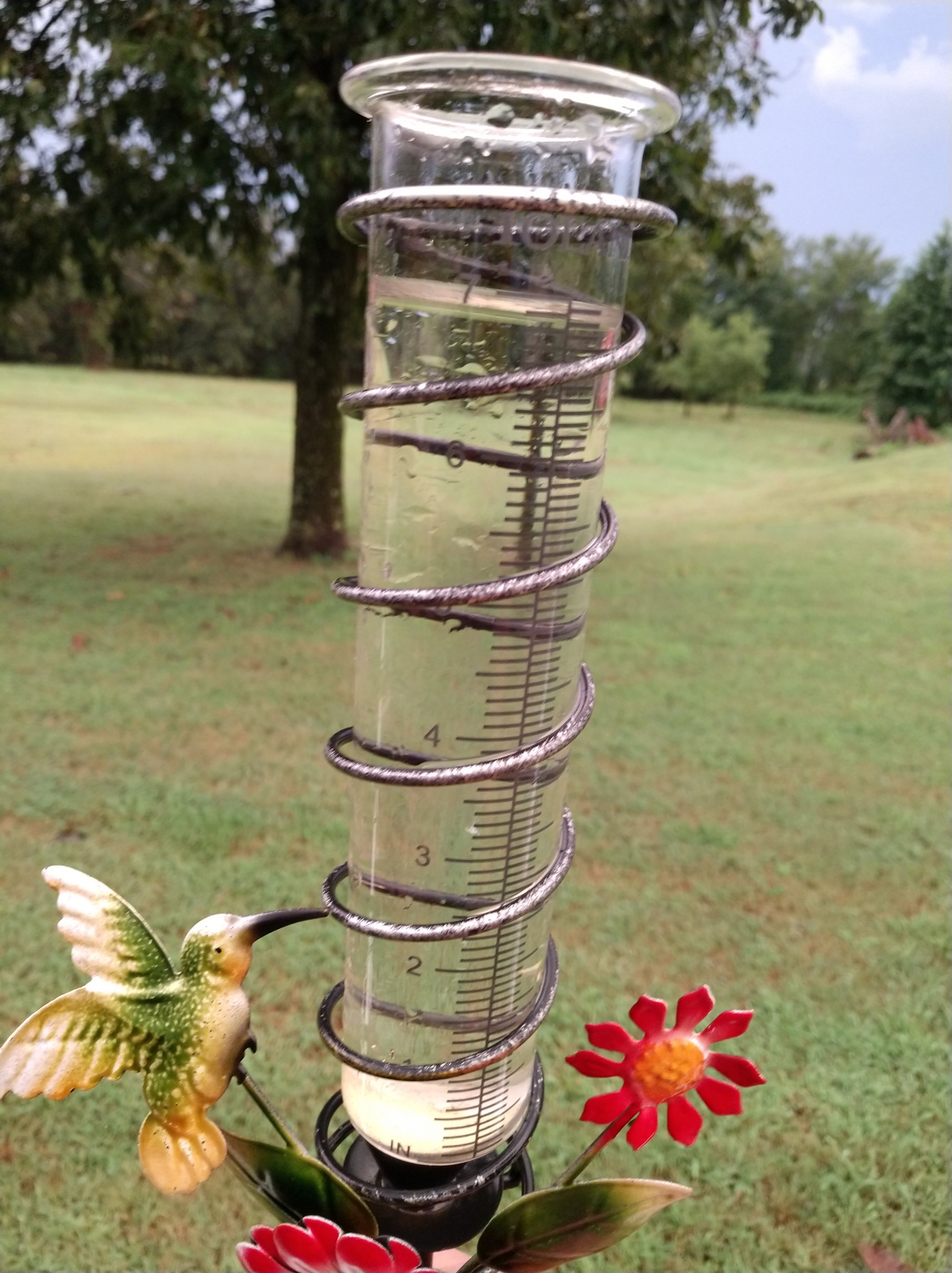 A rain gauge shows 7 inches of rain at a home on Alderson Road in Franklin County between Center Point and Lone Elm. (Courtesy of Eddie Alderson)