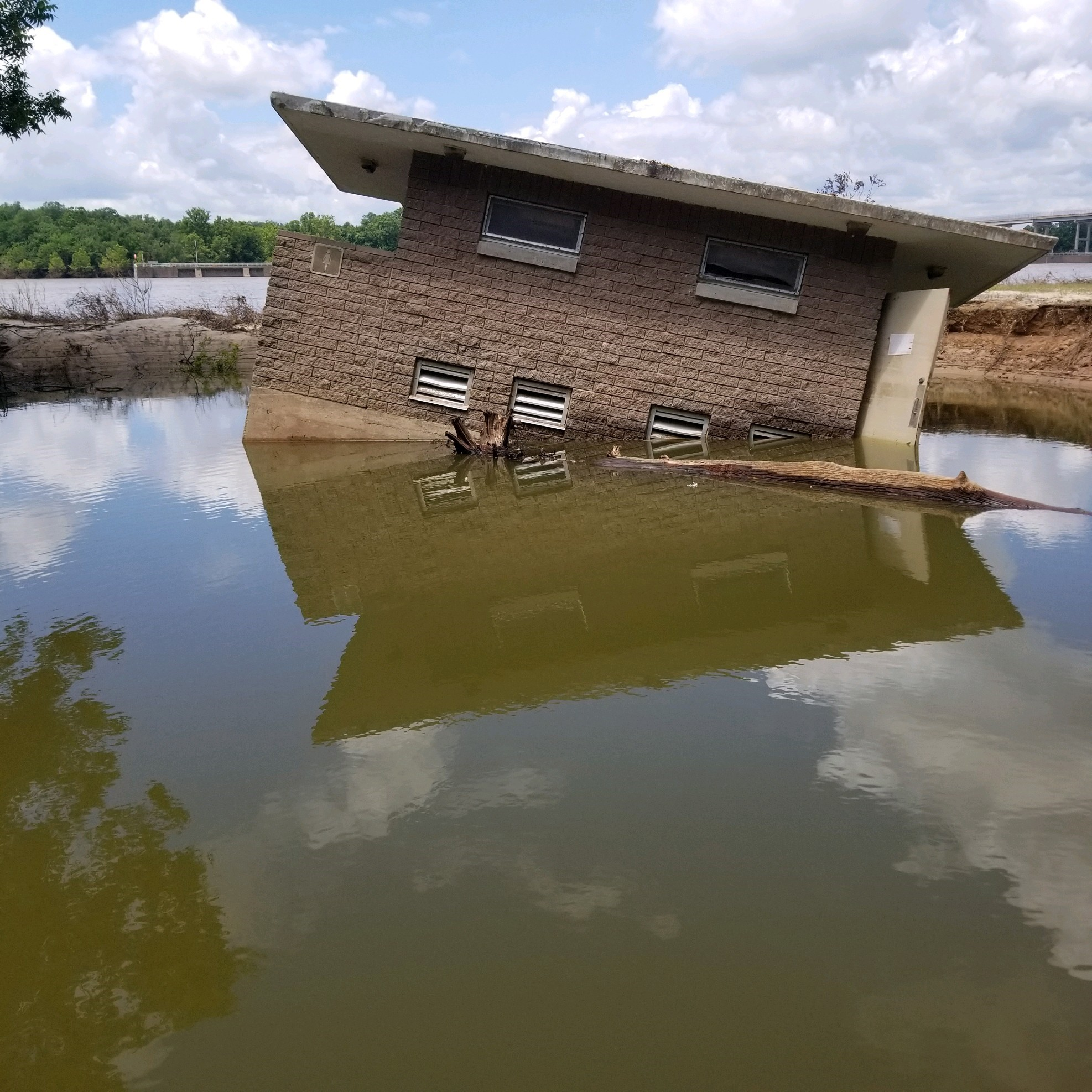 The restroom at Sheppard Island Park near Pine Bluff, Arkansas was swept off its foundation during the spring flood event of 2019.