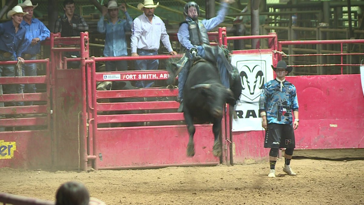 Bull Riders Compete During Arkansas Oklahoma State Fair