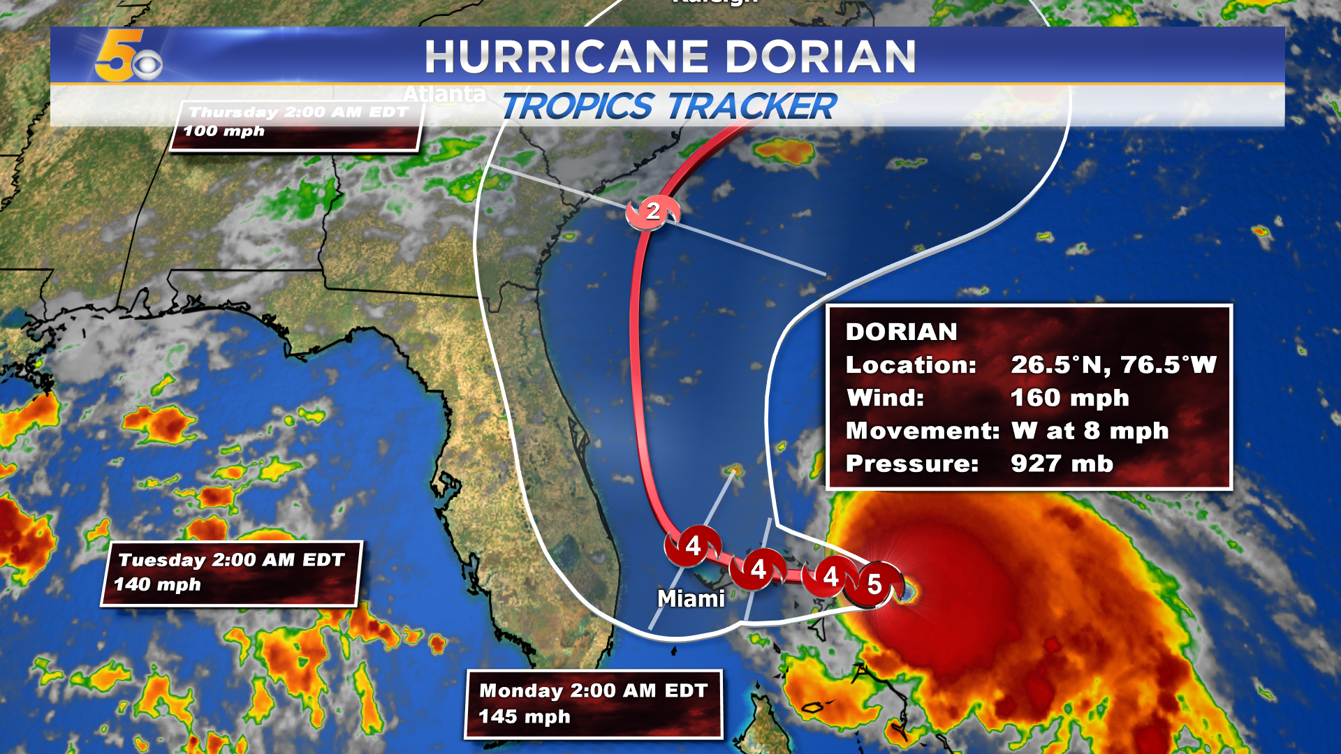 NASA satellites on-hand as Dorian becomes a category 3 hurricane