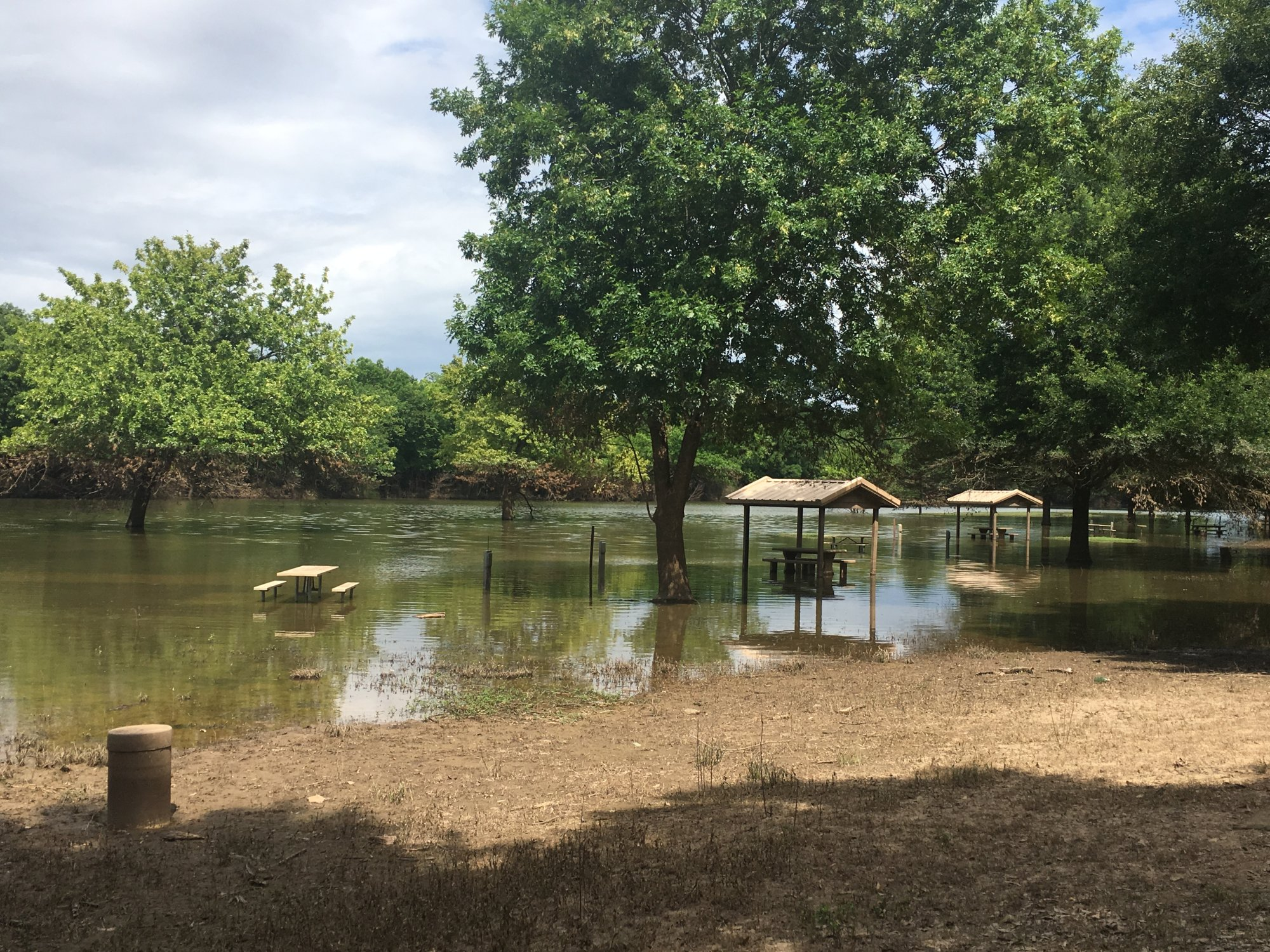 Picnic areas are still underwater at the Clear Creek Park near Kibler, which was severely damaged by the spring floods. (Courtesy U.S. Army Corps of Engineers)
