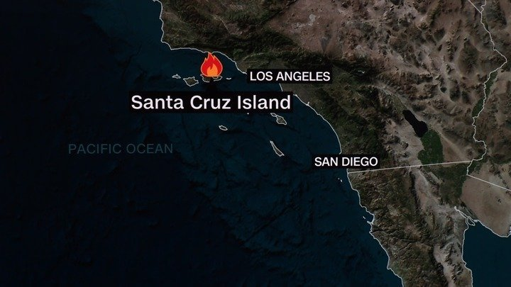 Authorities are rescuing passengers from a 75-foot boat that caught on fire off the coast of Santa Cruz Island in Southern California, the US Coast Guard told CNN Monday.