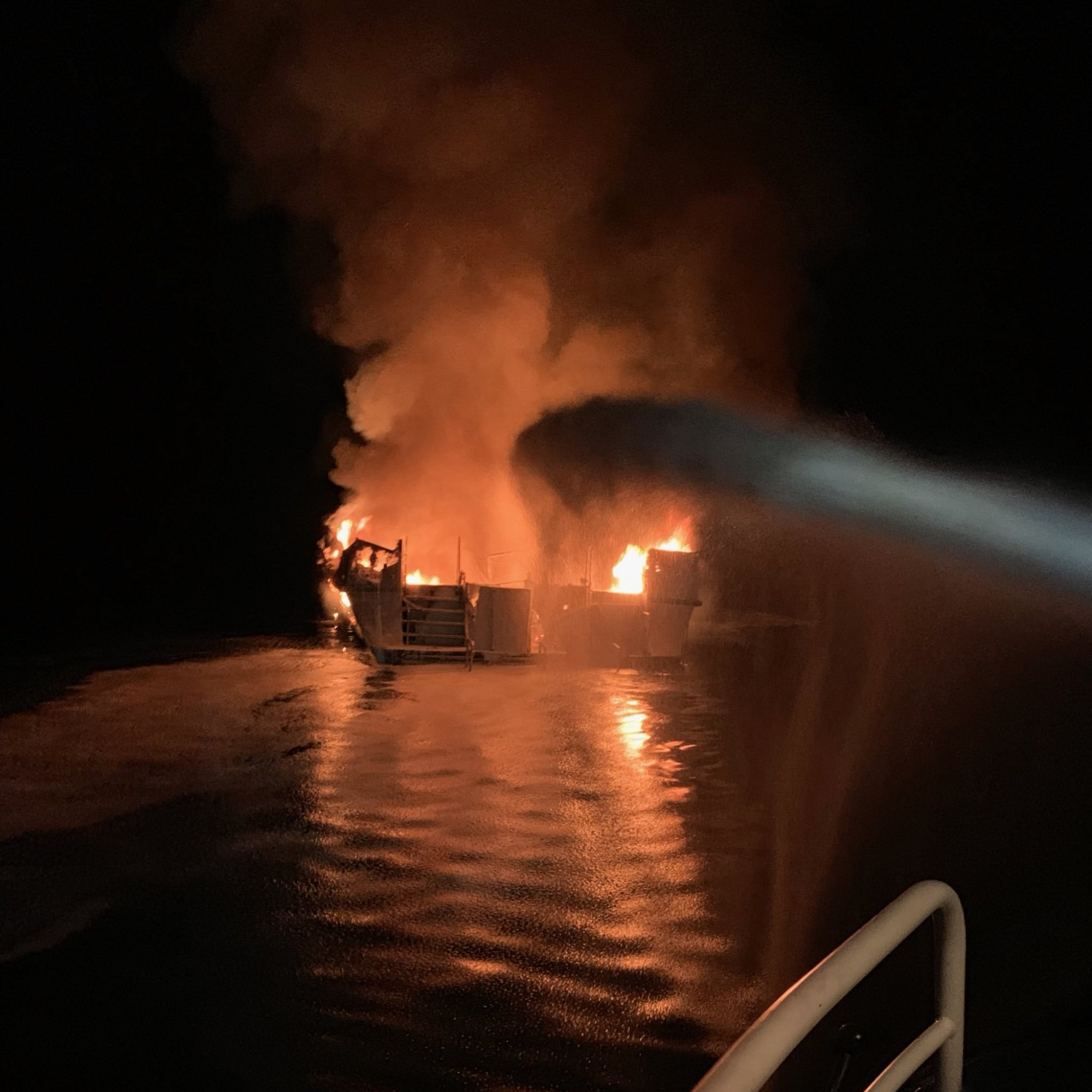 Ventura County Fire responded to boat fire off the north side of Santa Cruz Island at approximately 3:28am.