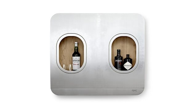 The Lufthansa Upcycling Collection includes a wall bar made from two of the airplane's windows.