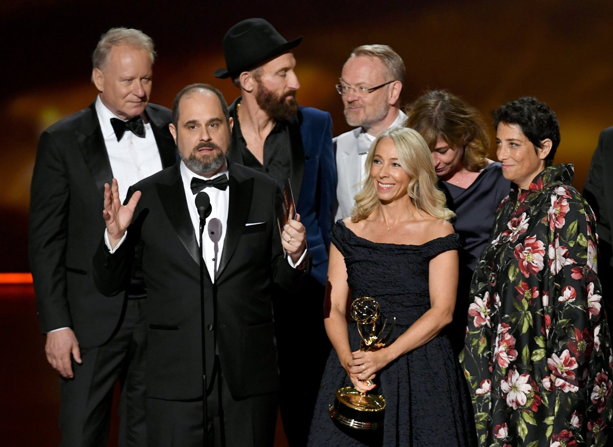 Stellan Skarsgård, Craig Mazin, Johan Renck, Jared Harris, Jane Featherstone, Sanne Wohlenberg and Carolyn Strauss accept the Outstanding Limited Series Emmy.
