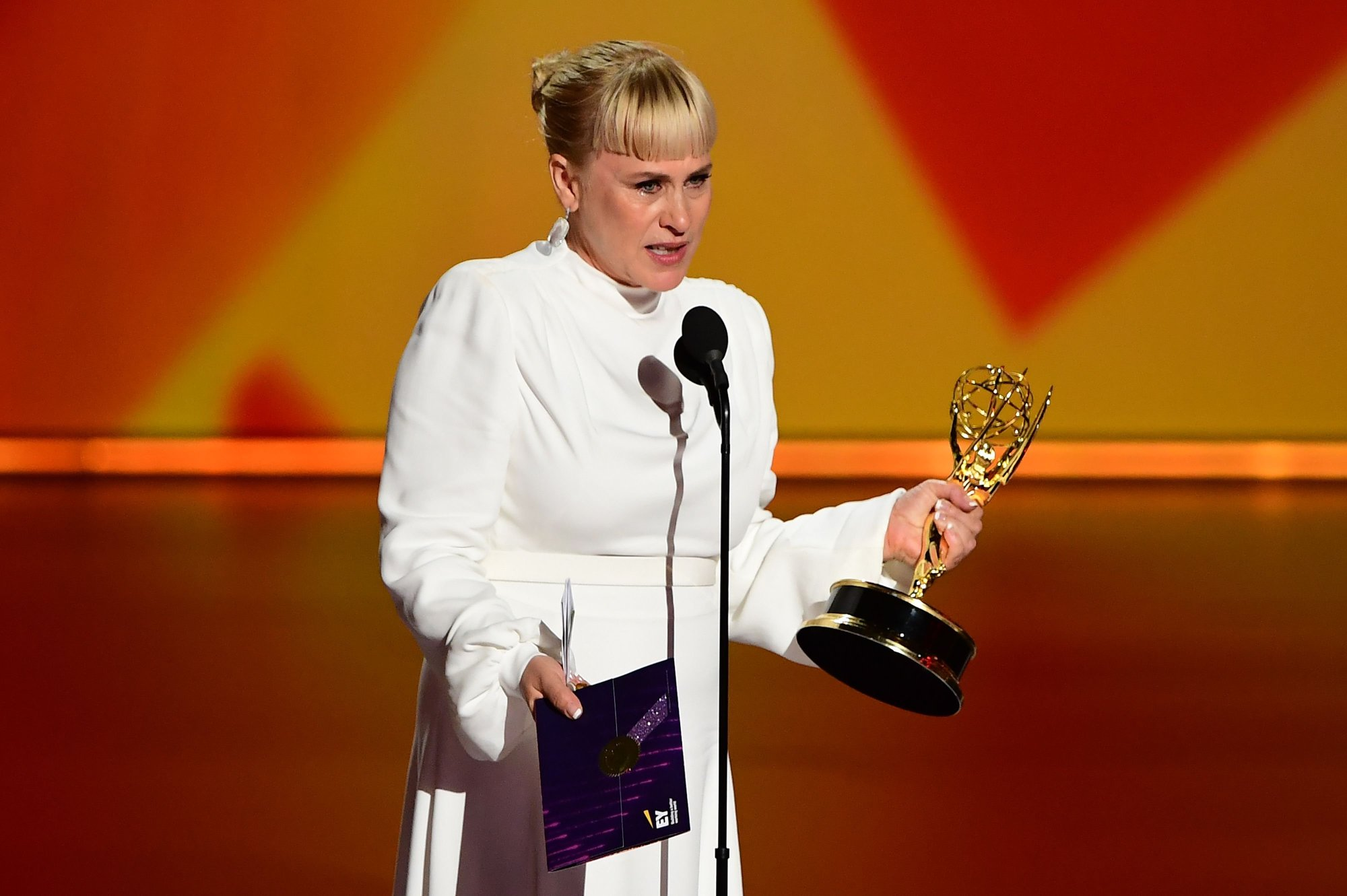 "Patricia Arquette accepts the Outstanding Supporting Actress in a Limited Series or Movie award for ""The Act"" onstage during the 71st Emmy Awards at the Microsoft Theatre in Los Angeles on September 22, 2019."