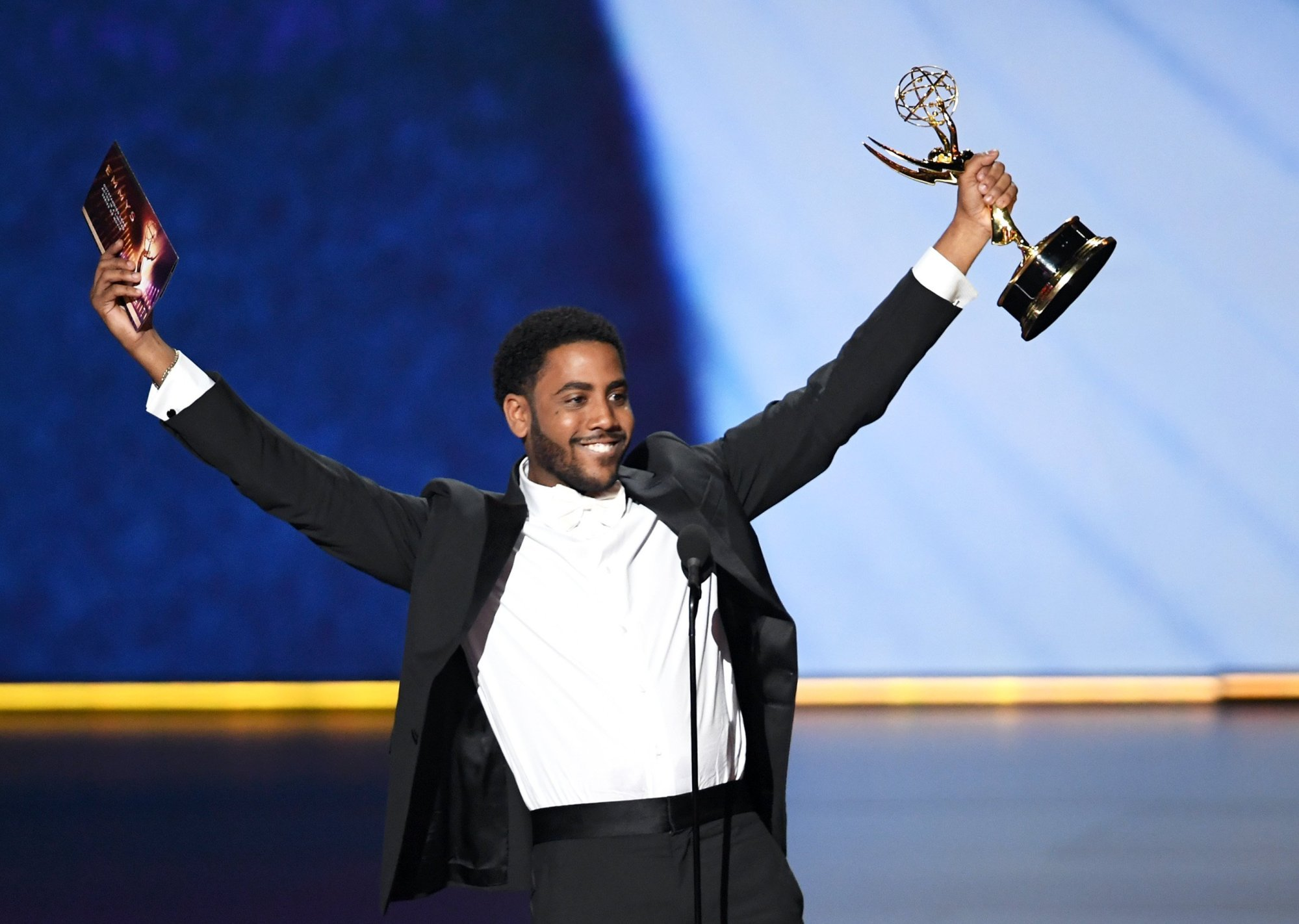 Jharrel Jerome accepts the outstanding lead actor in a limited series or movie award for 'When They See Us.'