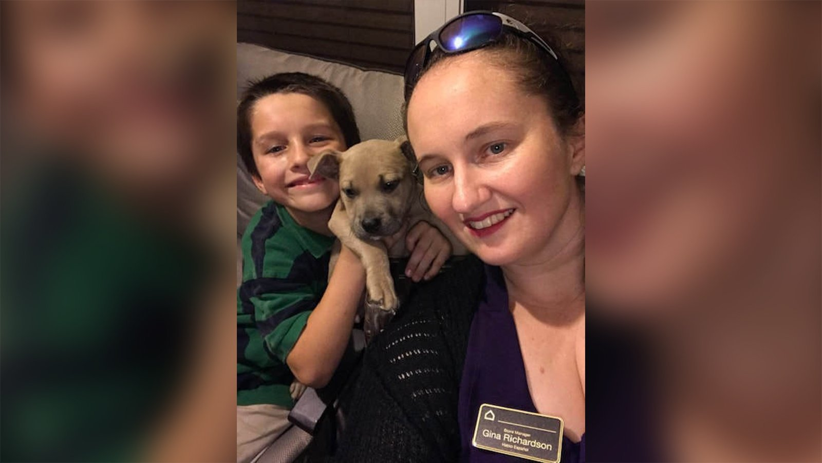 Oriley, 10, and his mom, Gina Richardson, with Zeus.
