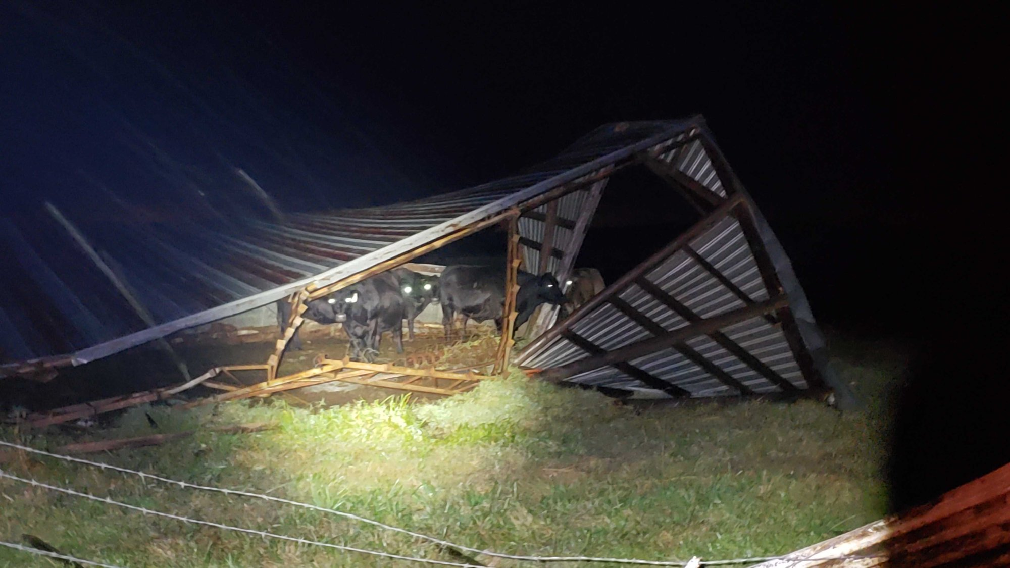 Barn collapsed on Highway 127 in Highfill