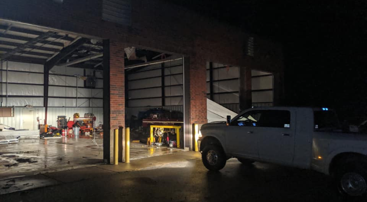 The Gallatin Fire Department was damaged in Monday's storms.