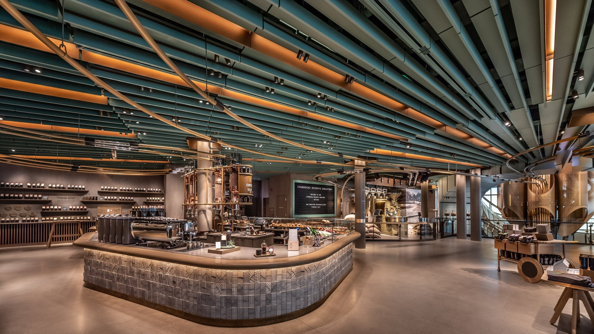 The interior of the Starbucks Roastery in Chicago.